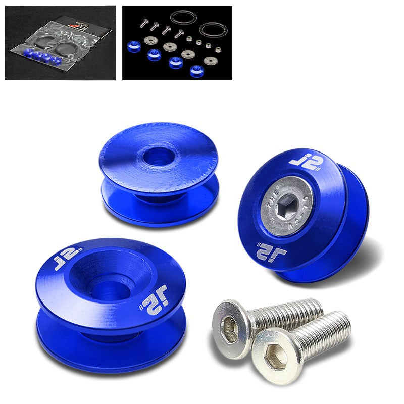 4PC J2 Blue Aluminum Trunk Bumper Quick Release Fastener Hatch Washer Kit-Washer-BuildFastCar