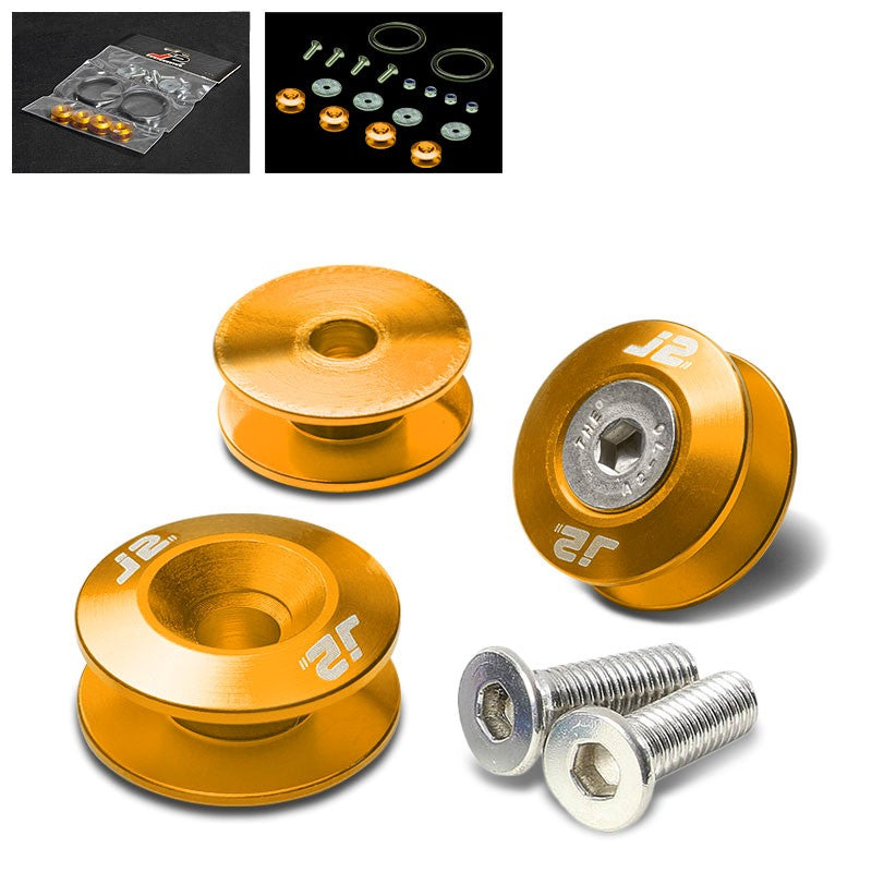 4PC J2 Gold Aluminum Trunk Bumper Quick Release Fastener Hatch Washer Kit-Washer-BuildFastCar