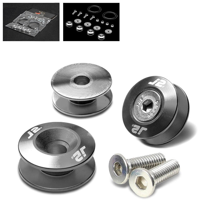 4PC J2 Gun Metal Aluminum Trunk Bumper Quick Release Fastener Hatch Washer Kit-Washer-BuildFastCar
