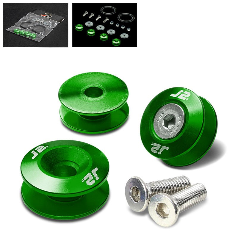 4PC J2 Green Aluminum Trunk Bumper Quick Release Fastener Hatch Washer Kit-Washer-BuildFastCar