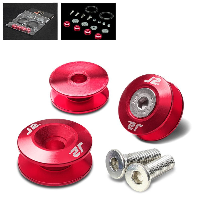 4PC J2 Red Aluminum Trunk Bumper Quick Release Fastener Hatch Washer Kit-Washer-BuildFastCar
