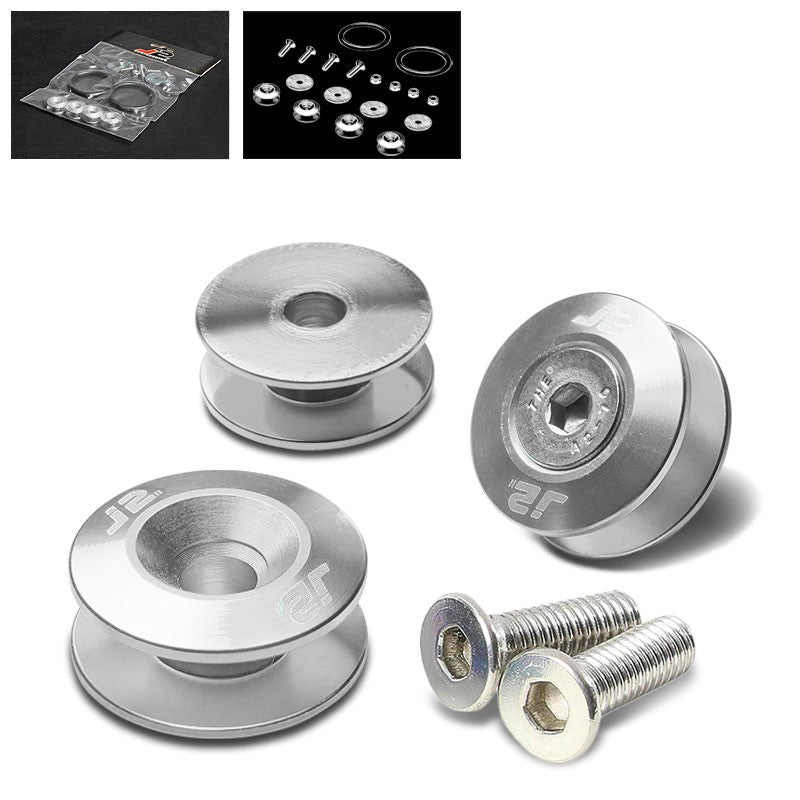 4PC J2 Silver Aluminum Trunk Bumper Quick Release Fastener Hatch Washer Kit-Washer-BuildFastCar