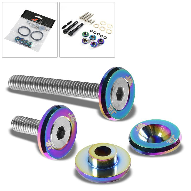 5PC J2 Neo Chrome Aluminum Engine Valve Cover Washer+Hex Bolt For Honda D-Series-Washer-BuildFastCar
