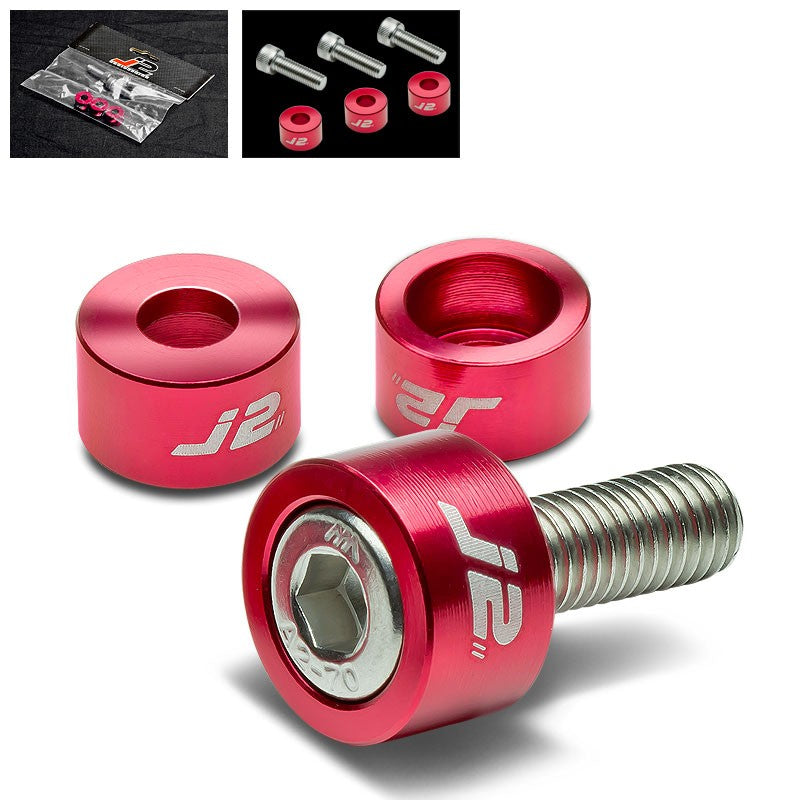 3PC J2 Red Engine Ignition Distributor Metric Cup Washer+Bolt For Honda/Acura-Washer-BuildFastCar