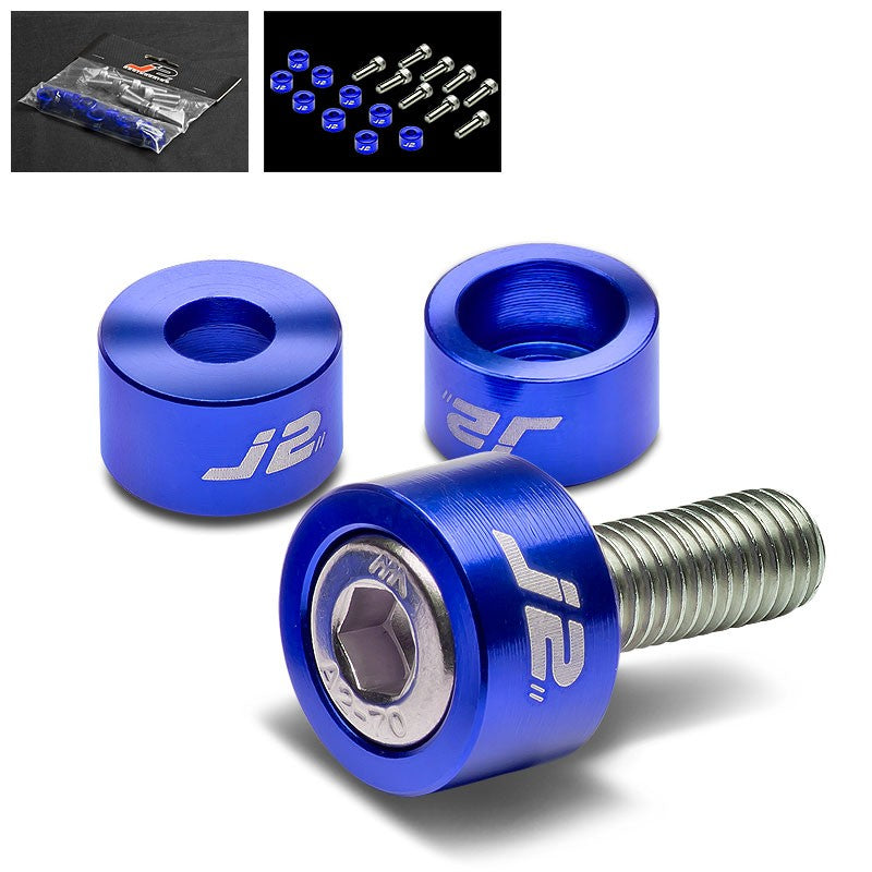 9PC J2 Blue Header Exhaust Washer Cup+Hex Bolt Kit For Honda/Acura 4CYL-Washer-BuildFastCar