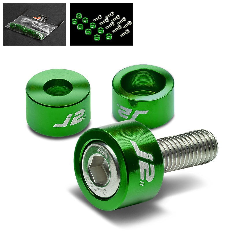 9PC J2 Green Header Exhaust Washer Cup+Hex Bolt Kit For Honda/Acura 4CYL-Washer-BuildFastCar