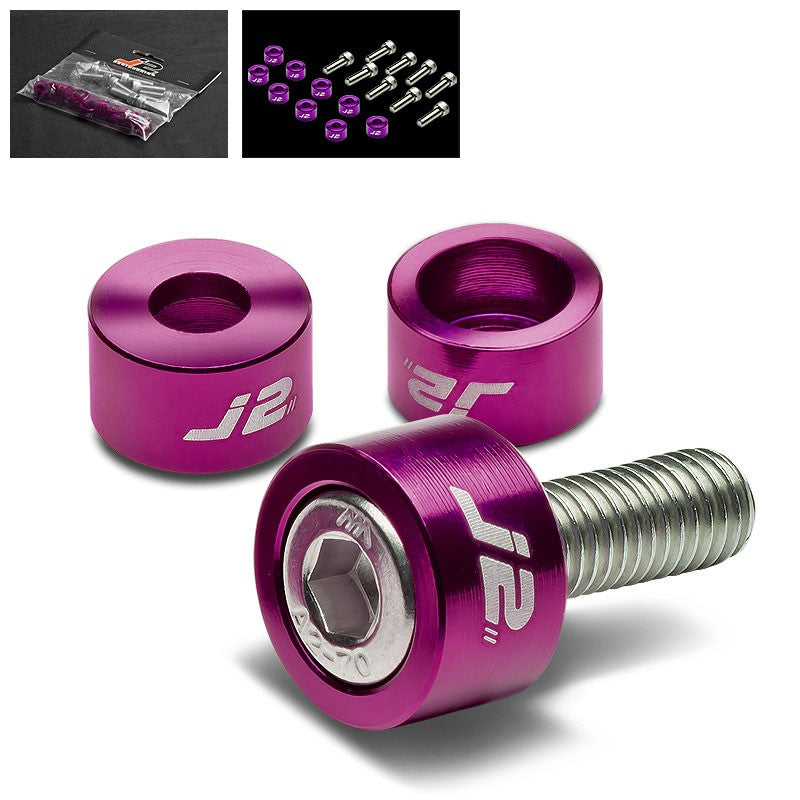9PC J2 Purple Header Exhaust Washer Cup+Hex Bolt Kit For Honda/Acura 4CYL-Washer-BuildFastCar