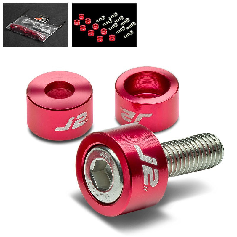 9PC J2 Red Header Exhaust Washer Cup+Hex Bolt Kit For Honda/Acura 4CYL-Washer-BuildFastCar