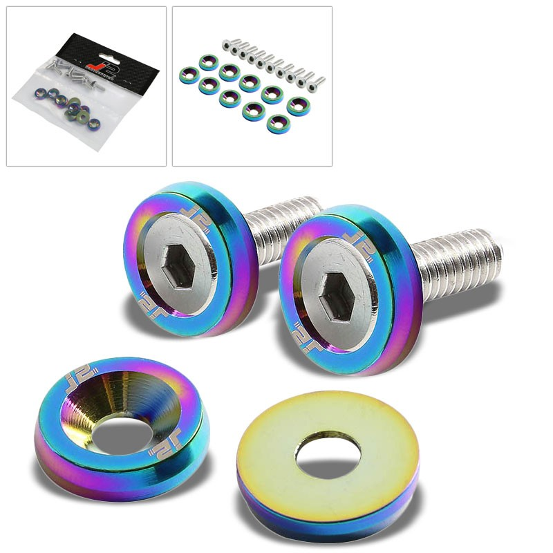 10PC J2 Neo Chrome Fender/Engine Bay/Bumper/Bracket Washer+Bolt For Universal-Washer-BuildFastCar