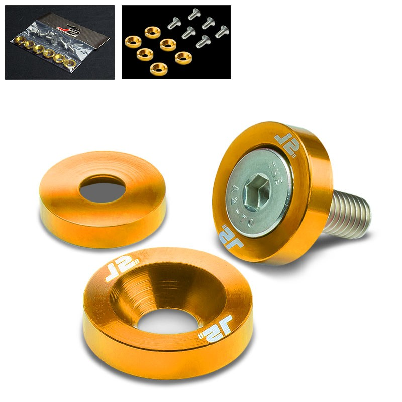 6PC J2 Gold Fender/Engine Bay/Bumper/Bracket Washer+Bolt Kit For Universal-Washer-BuildFastCar