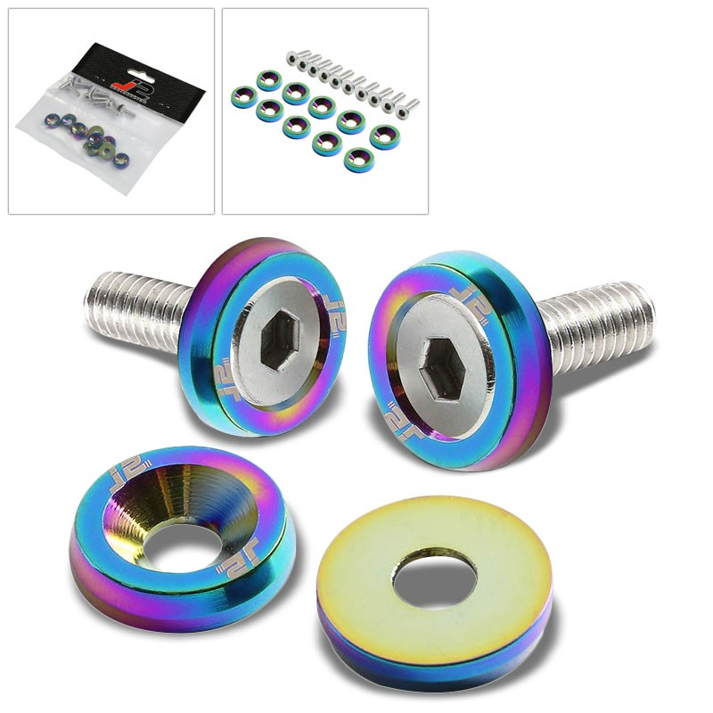 6PC J2 Neo Chrome Fender/Engine Bay/Bumper/Bracket Washer+Bolt Kit For Universal-Washer-BuildFastCar