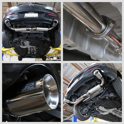 "4.5"" Dual Roll Muffler Tip Exhaust Catback System For 05-09 Mazda 3 2.3L DOHC-Performance-BuildFastCar"