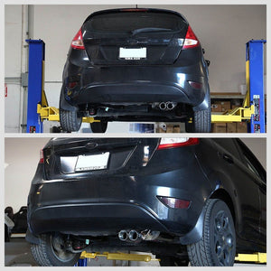 "2.75"" Dual Slant Roll Muffler Tip Exhaust Catback System For 11-15 Fiesta 1.6L-Performance-BuildFastCar"