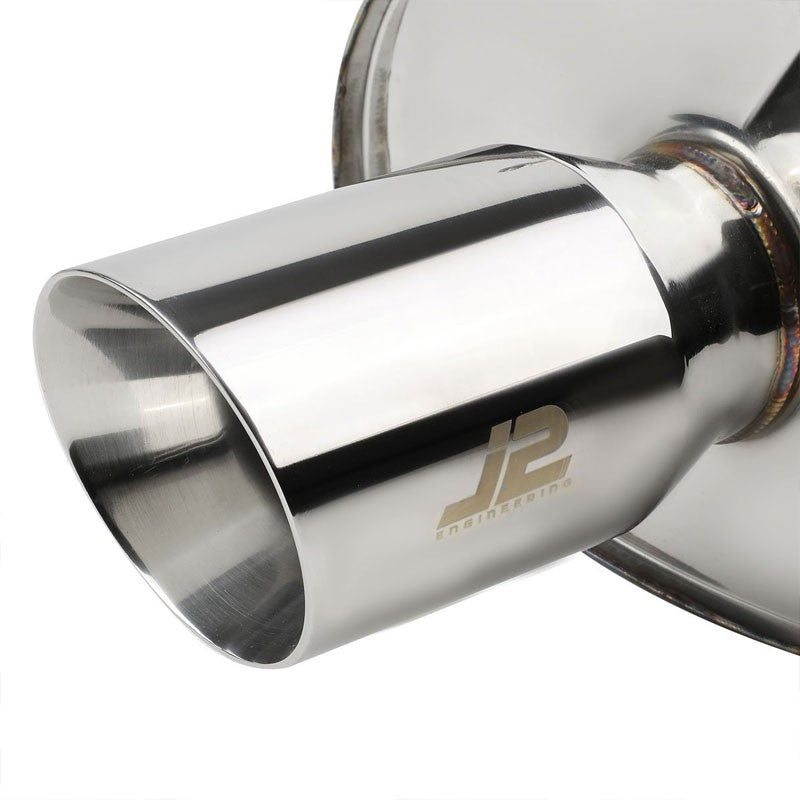 "3.5"" Dual Slant Roll Muffler Tip Exhaust Catback System For 06-08 Eclipse 3.8L-Performance-BuildFastCar"