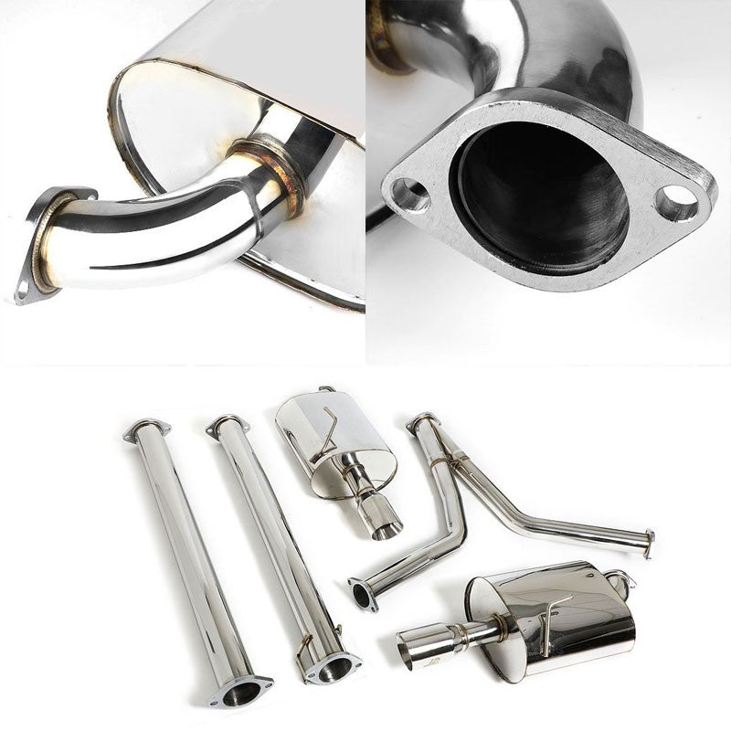 "3.5"" Dual Roll Muffler Tip Exhaust Catback System For 09-15 Maxima A35 3.5L DOHC-Performance-BuildFastCar"