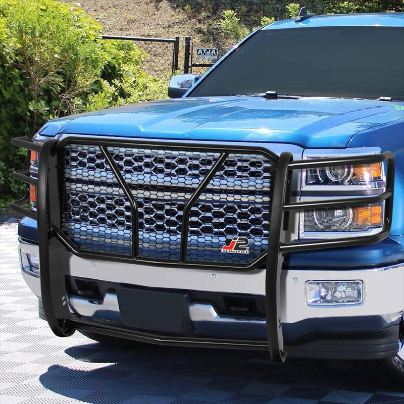 Black Mild Steel Full Front Grille Guard For 14-15 Chevrolet Silverado 1500-Grille Guards & Bull Bars-BuildFastCar