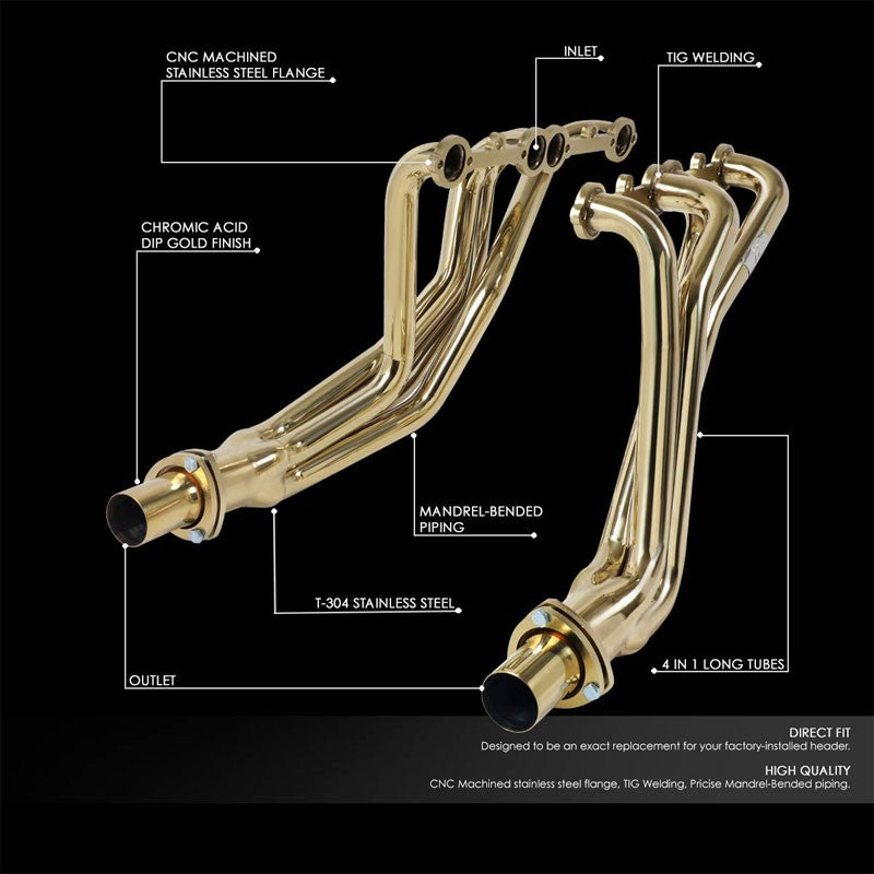 J2 Gold 4-1 Long Tube Exhaust Header Manifold For Chevy 5.0/5.7 Small Block SBC