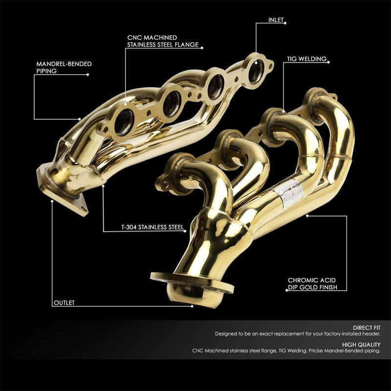 J2 Gold 4-1 Shorty Exhaust Header Manifold For 00-16 Chevy Silverado/Tahoe