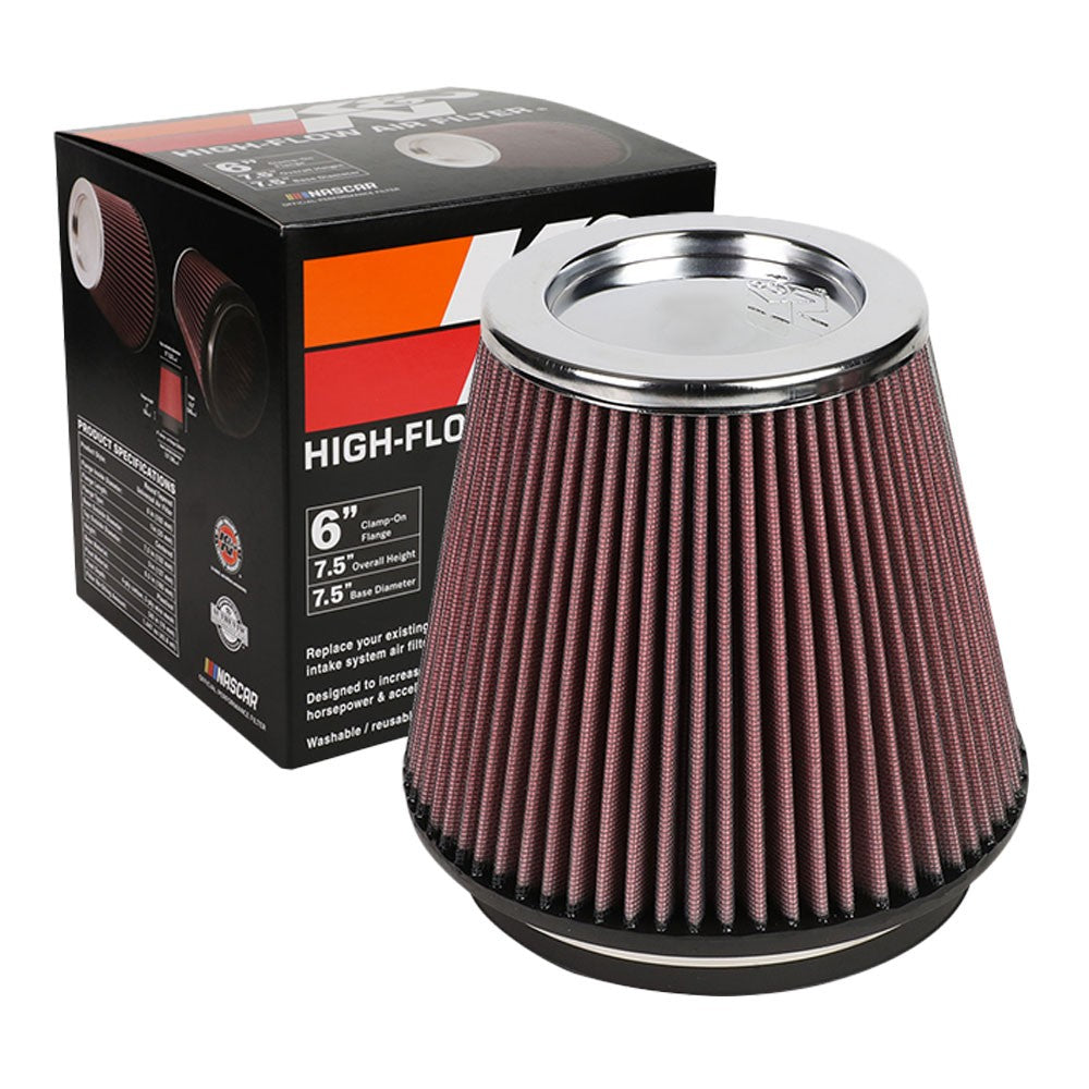 "K&N Clamp-On 6"" Inlet Round Tapered Cone RF-1042 Cotton Gauze Air Intake Filter"