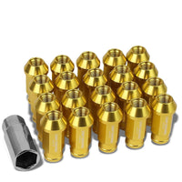 Gold Aluminum M12x1.25 50mm Tall Open Knurl End Acorn Tuner 20x Conical Lug Nuts-Accessories-BuildFastCar