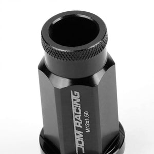 Black Aluminum M12x1.50 50mm Tall Open Knurl Acorn Tuner 20x Conical Lug Nuts-Accessories-BuildFastCar