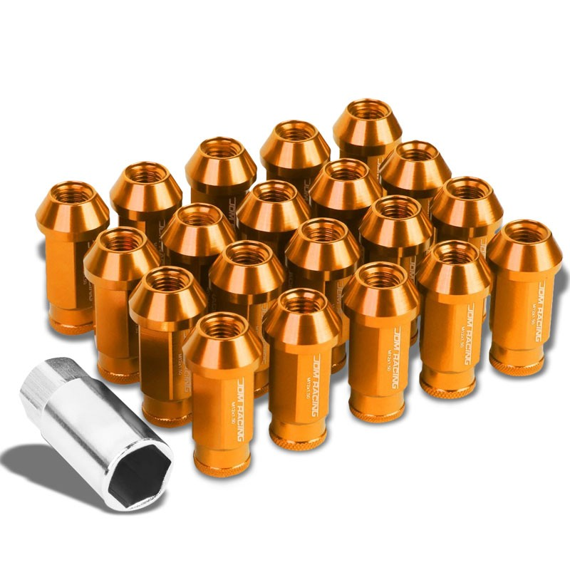 Orange Aluminum M12x1.50 50mm Tall Open Knurl Acorn Tuner 20x Conical Lug Nuts-Accessories-BuildFastCar