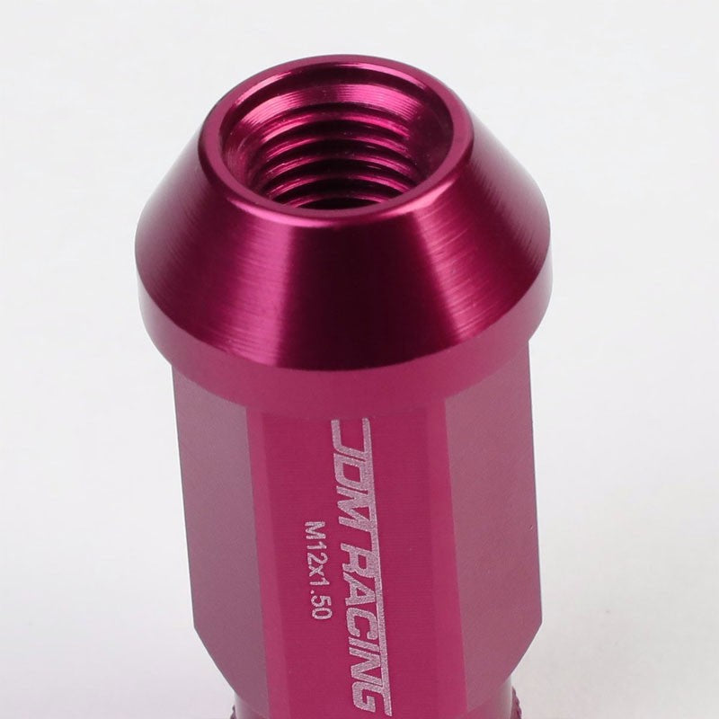 Pink Aluminum M12x1.50 50mm Tall Open Knurl Acorn Tuner 20x Conical Lug Nuts-Accessories-BuildFastCar