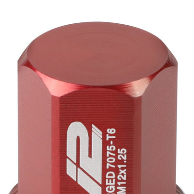 J2 Aluminum Red Close End Acorn Tuner Lug Nuts Conical Seat M12x1.25 T7-006-Car & Truck Wheels-BuildFastCar