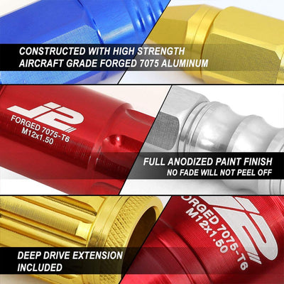 J2 Aluminum Red Close End Acorn Tuner M12 x 1.50 25MM OD/35MM Height Lug Nuts-Car & Truck Wheels-BuildFastCar