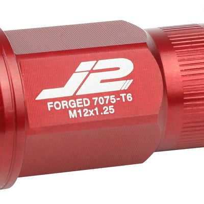 J2 Red Open Knurled End Acorn Tuner Lug Nuts Conical Seat M12x1.25 T7-008-Car & Truck Wheels-BuildFastCar
