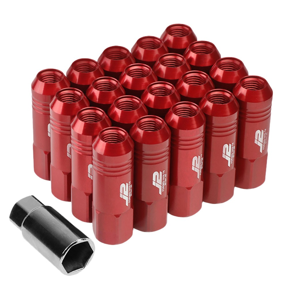 J2 Aluminum Red Open End Acorn Tuner Lug Nuts Conical Seat M12x1.25 T7-009