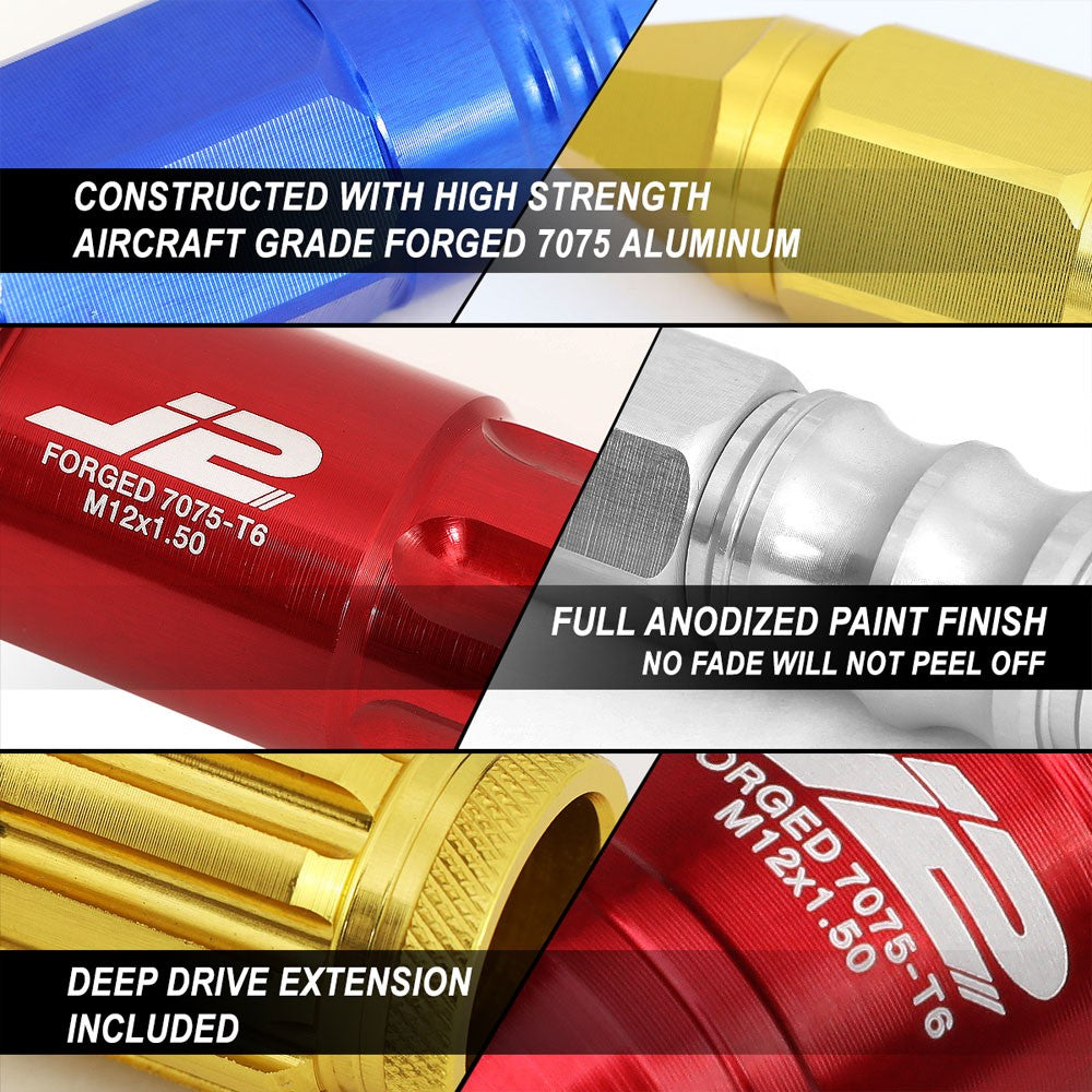 J2 Aluminum Red Open End Spline Acorn Lug Nuts Conical Seat M12x1.25 T7-011-Car & Truck Wheels-BuildFastCar