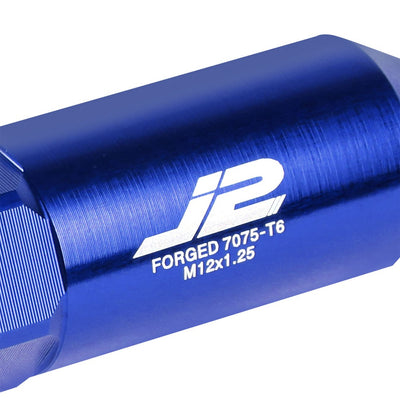 J2 Blue Open End Acorn Tuner w/ Spike Cap Lug Nuts Conical Seat M12x1.25 T7-016-Car & Truck Wheels-BuildFastCar