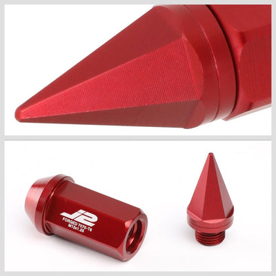 J2 Red Open End Acorn Tuner w/Spike Cap Lug Nuts Conical Seat M12x1.25 T7-020-Car & Truck Wheels-BuildFastCar