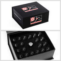 J2 Black Close End Acorn Tuner 25MM OD/35MM M12x1.25 20 Pcs Lug Nuts Set+Adapter