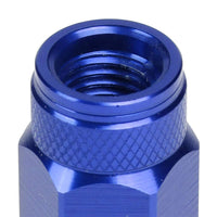 J2 Blue Open Double Knurled End Acorn Tuner 70MM M12x1.50 Lug Nuts Set+Adapter