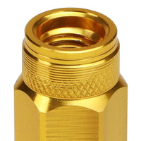 J2 Gold Open Double Knurled End Acorn Tuner 70MM M12x1.50 Lug Nuts Set+Adapter