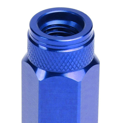 J2 Blue Open Double Knurled End Acorn Tuner 90MM M12x1.50 Lug Nuts Set+Adapter-Car & Truck Wheels-BuildFastCar