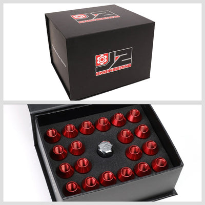 J2 Red Open Knurled End Acorn Tuner Lug Nuts Conical Seat M12x1.25 T7-028-Car & Truck Wheels-BuildFastCar
