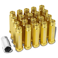 Gold Aluminum M12x1.50 90MM Tall Open Rim End Acorn Tuner 20x Conical Lug Nuts-Accessories-BuildFastCar