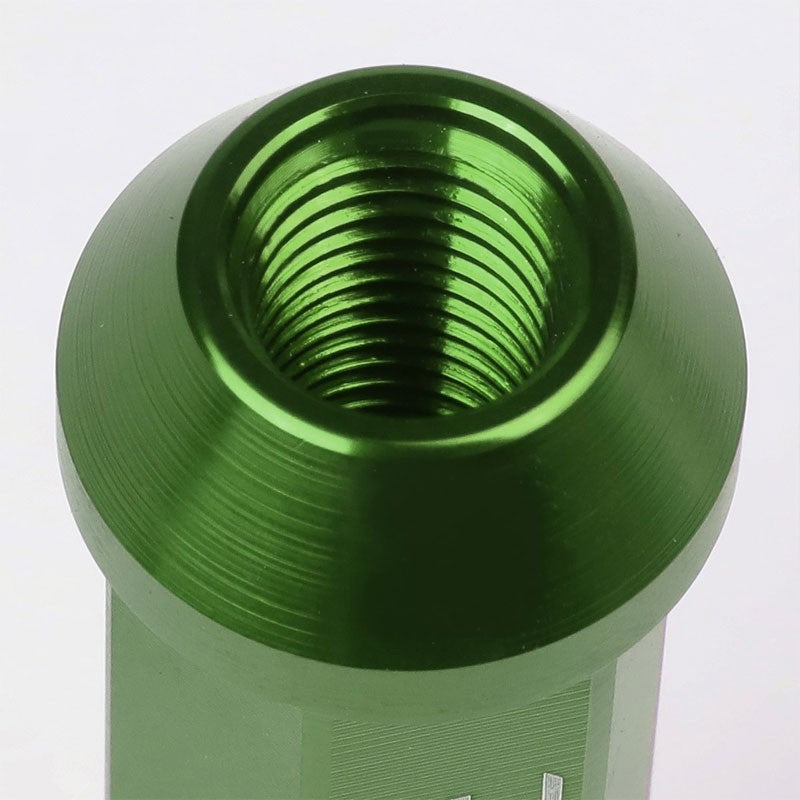 Green Aluminum M12x1.50 90MM Tall Open Rim End Acorn Tuner 20x Conical Lug Nuts-Accessories-BuildFastCar