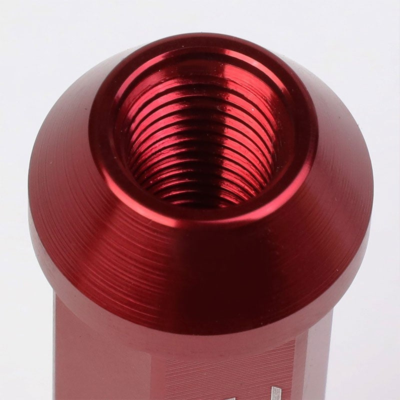 Red Aluminum M12x1.50 90MM Tall Open Rim End Acorn Tuner 20x Conical Lug Nuts-Accessories-BuildFastCar