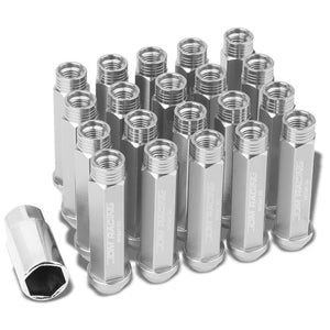 Silver Aluminum M12x1.50 90MM Tall Open Rim End Acorn Tuner 20x Conical Lug Nuts-Accessories-BuildFastCar
