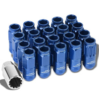 Blue Aluminum M12x1.25 Conical Open Knurl Acorn Tuner 16x Lug Nuts+4 Lock Nuts-Accessories-BuildFastCar