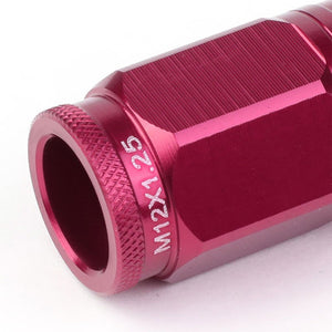 Pink Aluminum M12x1.5 Conical Open Knurl Acorn Tuner 16x Lug Nuts+4 Lock Nuts-Accessories-BuildFastCar