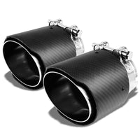 "2xClamp On Carbon Filber 4"" Racing High Flow Exhaust Muffler Tip For 2.5"" Pipe-Performance-BuildFastCar"