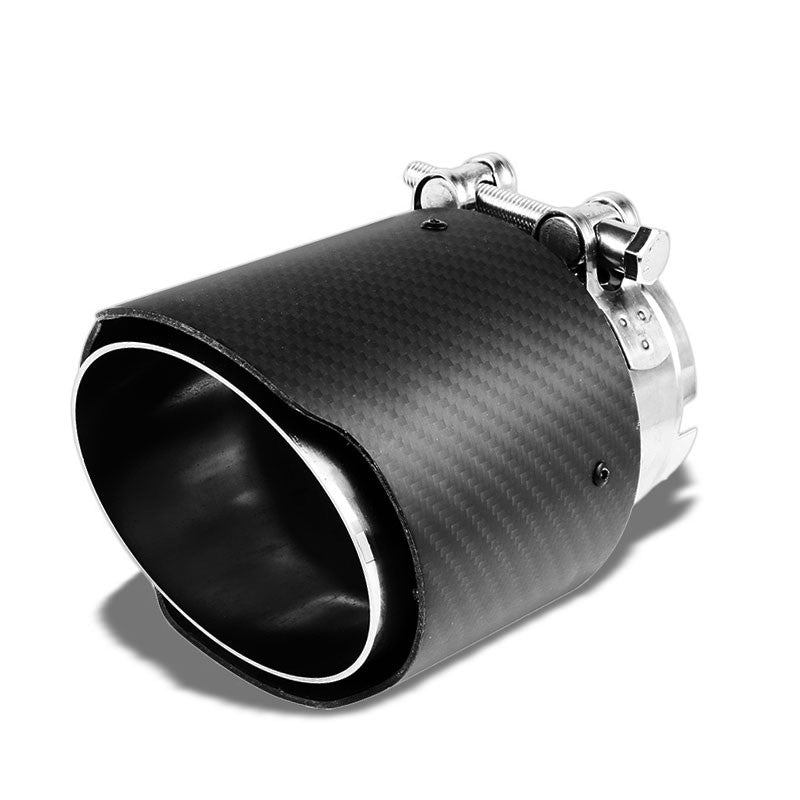 "Clamp On Carbon Filber 4"" Round Race HighFlow Exhaust Muffler Tip For 2.5"" Pipe-Performance-BuildFastCar"