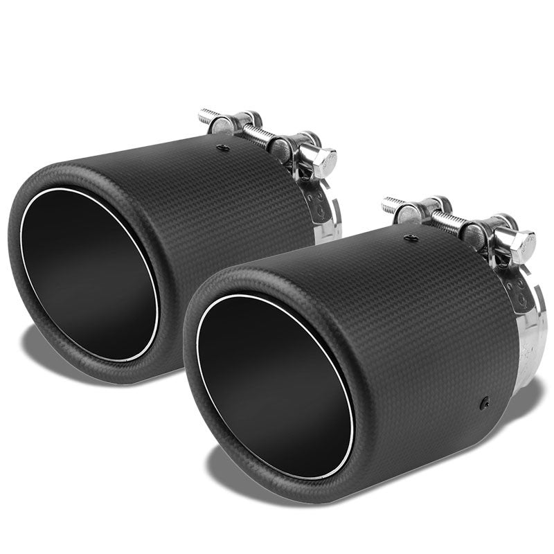 "2xClamp On Carbon Filber 4"" Round Race HighFlow Exhaust Muffler Tip For 3"" Pipe-Performance-BuildFastCar"
