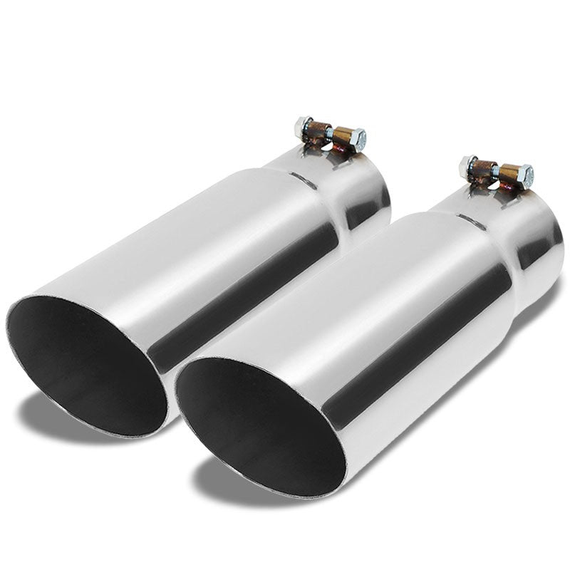 "2PCs 3"" Inlet Stainless Steel  Round Rolled Exhaust Muffler Tip 11.75""L/3.5"" Tip"