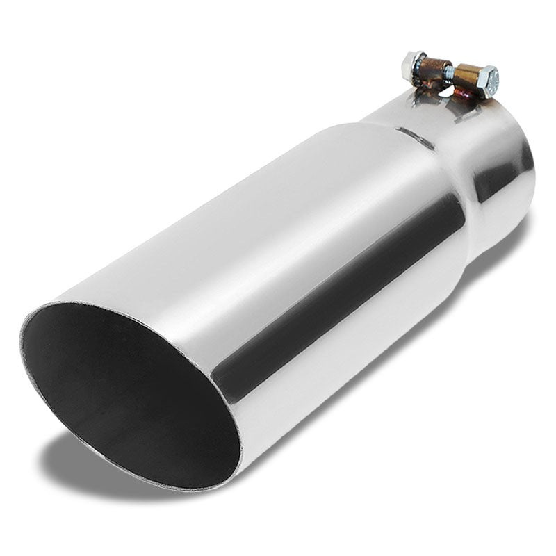"3"" Inlet Stainless Steel  Round Cut Rolled Exhaust Muffler Tip 11.75""L/3.5"" Tip"